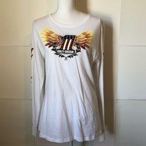 Harley Davidson NEW white LS Tee shirt womens XL